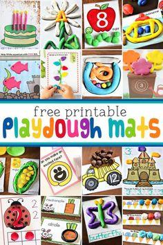 FREE Printable Playdough Mats w/ LOTS of Seasonal Playdoh Mats