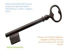 """Sukces nie jest kluczem do szczęścia. Szczęście jest kluczem do sukcesu. Jeśli kochasz to, co robisz - osiągniesz sukces.""  ""Success is not the key to happiness. Happiness is the key to success. If you love what you do - you will succeed.""   Albert Schweitzer Albert Schweitzer, Polish, Bottle, Vitreous Enamel, Flask, Nail, Jars, Nail Polish, Nail Polish Colors"