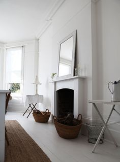 Colorful Home Decor white floorboards dining.Colorful Home Decor white floorboards dining White Painted Floors, Painted Floorboards, White Floorboards, Painted Stairs, White Walls, Eames, Innovation, White Fireplace, London House