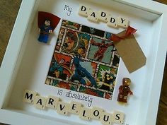 Fathers day/birthday Lego Superhero personalised scrabble art box frame