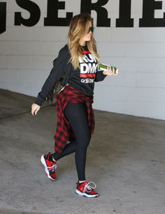 Khloe Kardashian wearing Prada Camo Backpack