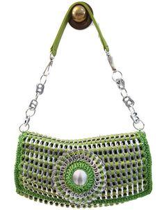Pop Tab Crochet Handbag Purse - Apple Green, Shoulder, Teen, Woman