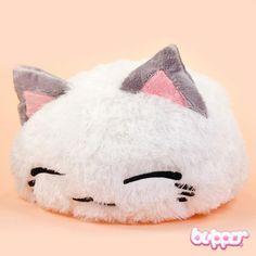Furry Nemuneko Plush - Big / White - Plush Toys - Other Products Kawaii Plush, Cute Plush, Kawaii Cute, Japanese Plushies, Cute Pillows, Kawaii Shop, All Things Cute, Squishies, Sewing Projects