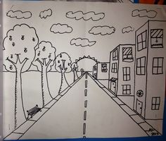 1 Point Perspective Art Project... One Point Perspective, Perspective Art, Middle School Art, Art School, High School, 7th Grade Art, Kids Art Class, Ecole Art, Principles Of Art