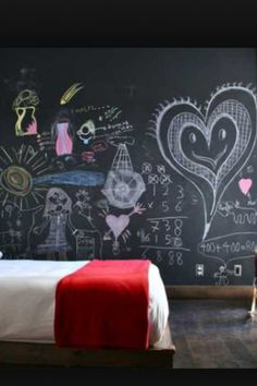 Get inspired by Modern Kids' Bedroom Design photo by catlin stothers design. Wayfair lets you find the designer products in the photo and get ideas from thousands of other Modern Kids' Bedroom Design photos. Chalkboard Bedroom, Blackboard Wall, Chalk Wall, Chalkboard Paint, Chalk Board, Kids Chalkboard, Black Chalkboard, Chalk Paint, Guest Bedrooms