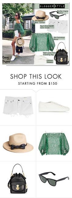 """""""Blogger Style: Gary Pepper/Nicole Warne"""" by helenevlacho ❤ liked on Polyvore featuring rag & bone, Ultimate, Common Projects, The Season Hats, Vika Gazinskaya, Ralph Lauren and Ray-Ban"""