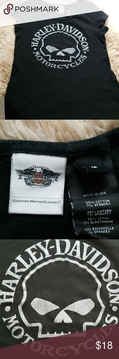 Harley Davidson Fitted T Black with Silver,  Fitted, Never worn,  cap sleeves. Nice Material Harley-Davidson Tops Tees - Short Sleeve
