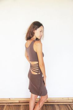 "cut-out ""SUADELA"" mini dress, with beautiful braided side details, body conscious gypsy bohemian casual yoga wear"