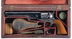 Cased Civil War Era Colt Civilian Model 1851 Navy Percussion Revolver.