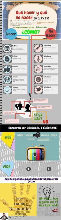 Una infografía, en español, que nos muestra una serie de consejos con lo que debemos hacer y lo que no debemos hacer en nuestro Currículum Vitae 2.0.