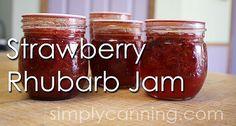 Strawberry rhubarb jam; recipe and canning instruction