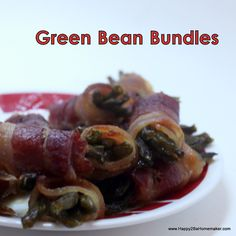 www.Happy2BHomemaker.com Green Bean Bundles are delicious as appetizers or as a twist on a green veggie for dinner. They may not be the healthiest option, but you won't find a tastier vegetable!