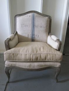 Bergere chair with grain sack. French Decor, French Country Decorating, My French Country Home, Bergere Chair, French Chairs, French Armchair, Grain Sack, Antique Chairs, French Furniture