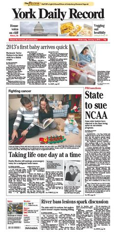 York Daily Record front page Jan 2, 2013