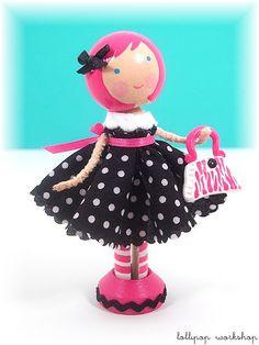 Wood peg doll pink hair