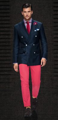 Model: Johannes Huebl. Outfits like this almost make me love menswear more than womenswear. A wonderful execution of modernized classics. It takes a bold man to wear colored pants. But color is so key here, adding a flirty, playful wink to an otherwise gorgeous but poker-face blazer.