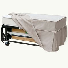 Castro Convertible Ottoman, by Castro ConvertiblesTucked inside this boxy ottoman is a fold-out bed with a steel and slatted-wood frame and its own little headboard. But forget the guests—it also converts into a chaise lounge. Pass the popcorn!