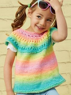 Free Knitting Pattern for Girl Time Tunic - Child's pullover sweater with lace yoke becomes a rainbow with self-striping yarn. Sizes 2 years through 10 years. Designed by Erin Kate Archer for Red Heart
