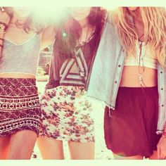 I would wear the middle outfit. Floral short dress with a loose tank under it. So cute <3