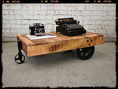 Holy Funk - Industrial Coffee Table Cart (http://www.holyfunk.com.au/furniture/industrial-coffee-table-cart/)
