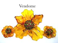 Vendome Yellow Cellulose Acetate & Rhinestone Flower Brooch & Earrings w/Orig. Tag from Kathy's Vintage Jewels on Ruby Lane