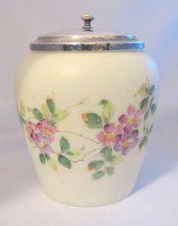 Mt Washington Glass Biscuit Cracker Jar Pink Lilac Violets