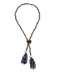 Nest Black Agate Tassel Pendant Necklace 6r6lMSxViK