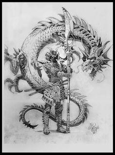 Japanese samurai tattoo designs for men and women. Samurai tattoos of different sizes, shapes and colors. Samurai tattoos made on different parts of the body. Samurai warrior tattoo - Samurai sword tattoo - Samurai helmet tattoo - Samurai back tattoo. Samurai Warrior Tattoo, Warrior Tattoos, Japanese Warrior Tattoo, Samurai Helmet, Dragon Tatoo, Dragon Art, Snake Dragon, Green Dragon, Bild Tattoos