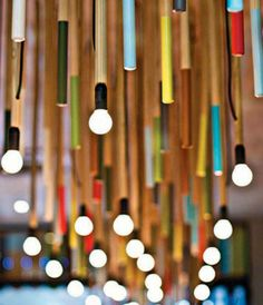 Light installation. Designed by graphic, interior and furniture designer, Kevin Boyd of Durban, South Africa for the Colour Cafe in Durban+