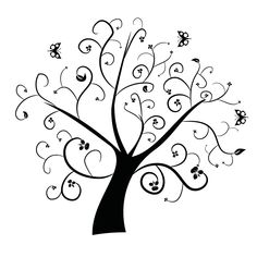 Swirly flower tree - Illustration