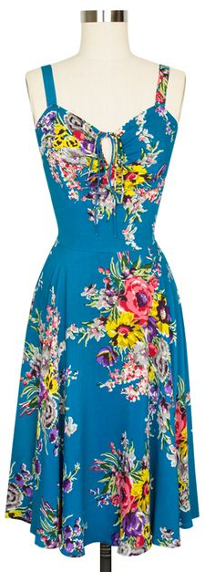 Trashy Diva L'Amour Dress   Vintage Inspired Dress   Turquoise Floral