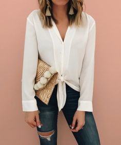 Just played 2 hours of tennis & dyyying !!! This top is such a great basic and you can adjust the ties to make it hang longer or shorter depending on the rise of your jeans  oh and don't for get this adorable clutch is less than $30 !! Deets in the @liketoknow.it app or by clicking the link in my Instagram profile  http://liketk.it/2uRFo #liketkit