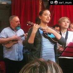 """Proud to have @sw1_mum on the team. Here's she is at our show: """"I'm proud to call myself a ukulele player and to have had another great performance with the gang! (Uke position is now over the bump!)"""""""