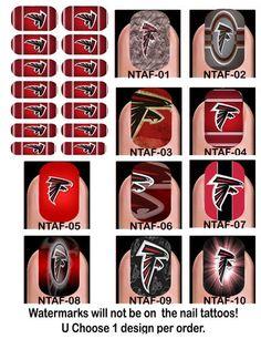 Nail Tattoo Decals - Atlanta Falcons Falcons Gear, Falcons Football, How To Do Nails, Fun Nails, Up Tattoos, Nail Tattoos, Falcons Rise Up, Feather Wreath, Georgia Girls