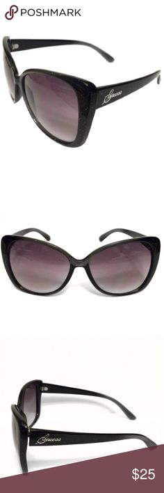 Guess by Marciano Black Glittery Sunglasses Shine in this black glittery style from GUESS. The grey, gradient lenses add an extra glamorous appeal to this desirable cat-eye shape. With elegant branding at each temple, these sunglasses are ready for wearing. Guess by Marciano Accessories Glasses