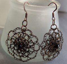 Hand Crochet Wire and Czech Glass Earrings by by PrayerMonkey, $15.00