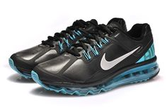 Hot Cheap Nike Air Max 2013 Leather Cyan Black Mens Shoes Online, Wholesale new Nike Air Max 90 Mens