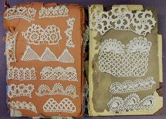 Pages from a book of crochet samples cotton, paper late 19th century