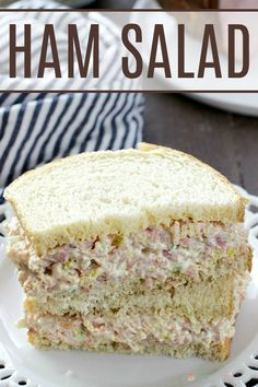 My family LOVED this ham salad! A great way to use leftover ham! My family LOVED this ham salad! A great way to use leftover ham! Ham Salad Recipes, Pork Recipes, Appetizer Recipes, Cooking Recipes, Dinner Recipes, Ham Sandwich Recipes, Cooking Pasta, Recipes With Ham Casserole, Recipies