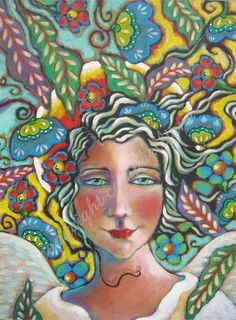 Angel Painting Bold Colorful FunkY Boho Floral by CampbellJane