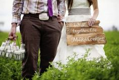 sign for milk & cookies table during bridal party photos