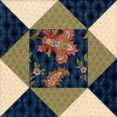 Maddie Floral Navy Pre-Cut Fabric Quilt Kit Blocks