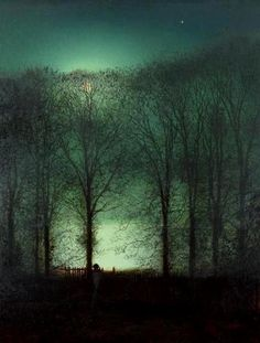 "This ready to hang, gallery-wrapped art piece features a figure in the moonlight. John Grimshaw was a Victorian-era artist, a ""remarkable and imaginative painter"" knonw for his city night-scenes and l"