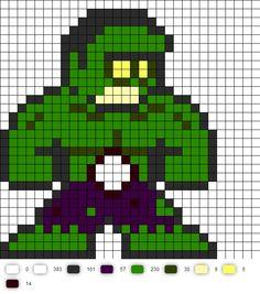 Zombie Hulk Perler Bead Pattern