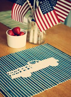 painted bamboo placemats