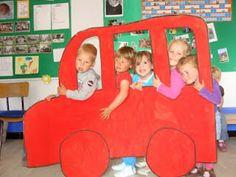 Konijntjesklas: Thema: 'Verkeer: de bus' Transportation Theme Preschool, Dramatic Play Themes, Cardboard Car, Fireman Party, Preschool Arts And Crafts, Kid Experiments, School Games, Kids Church, Summer Activities