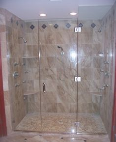 Seashore Glass and Mirror | Portfolio: Frameless Shower Doors - for our main floor bathroom, not as big but the general idea.