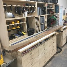 Garage is a place that easily be filled with various things since the space is big enough to be used as storage. However, you might want to try using some of these garage storage solutions so you can organize the… Continue Reading → Garage Tool Storage, Garage Storage Solutions, Workshop Storage, Garage Tools, Garage Organization, Garage Ideas, Organization Ideas, Garage Workbench, Garage Shop
