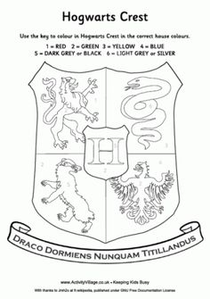 Do you know the Hogwarts house colours? Print this Hogwarts Crest colour by number sheet for some Harry Potter colouring fun.
