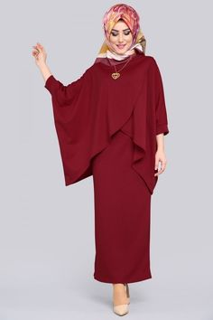 Yarasakol Üçlü Kombin MDP5075 Bordo Islamic Fashion, Muslim Fashion, Modest Fashion, Fashion Dresses, Plum Prom Dresses, Muslim Dress, Hijab Dress, Abaya Designs, Abaya Fashion